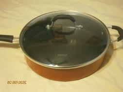 """CUISINART 12"""" 5.5 QT RED SKILLET WITH GLASS LID"""