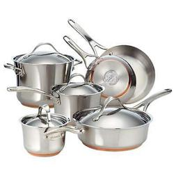 12PC Stainless Steel Copper Non Stick Kitchen Cookware Set C