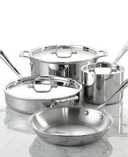 All-Clad 7 Pieces Stainless Steel 18/10 7-Pc. Cookware Set B