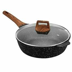 ESLITE LIFE Deep Frying Pan with Lid Nonstick Saute Pan with