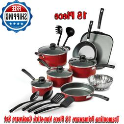 Tramontina Primaware 18 Piece Non-stick Cookware Set, Red, D