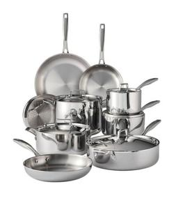 Tramontina Tri-Ply Clad 14-Piece Stainless Steel Cookware Se